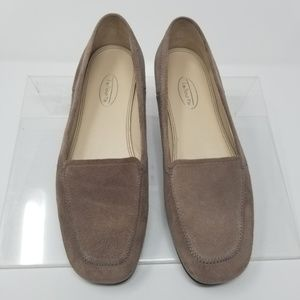 Talbots Size 7.5 B Brown Taupe Suede Flats Loafers